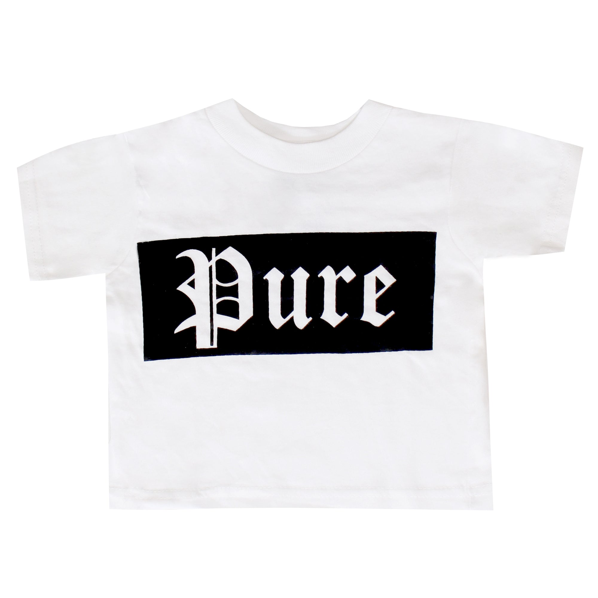 Kids Pure Block Logo Tee Shirt-White with Black Logo