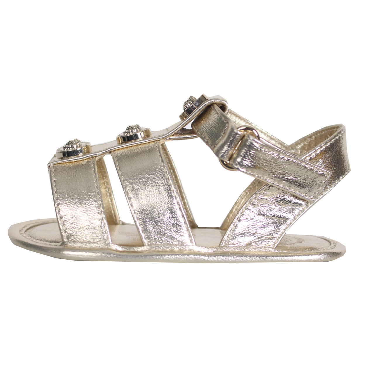 Baby Girl Sandals with Medusa Details-Gold