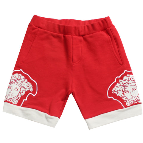 Boys Medusa Logo Shorts-Red and White