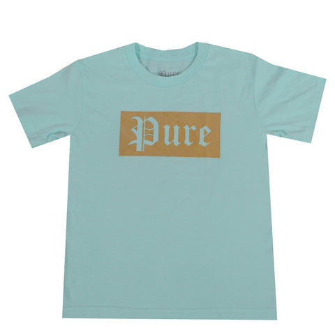 Kids Pure Block Logo Tee Shirt-Turquoise