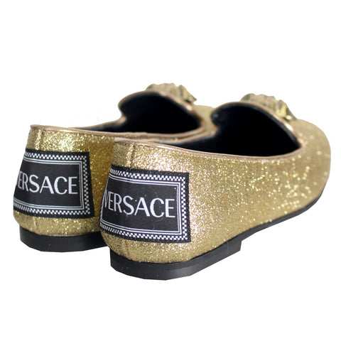 Girls Loafer With Medusa Head Detail-Gold