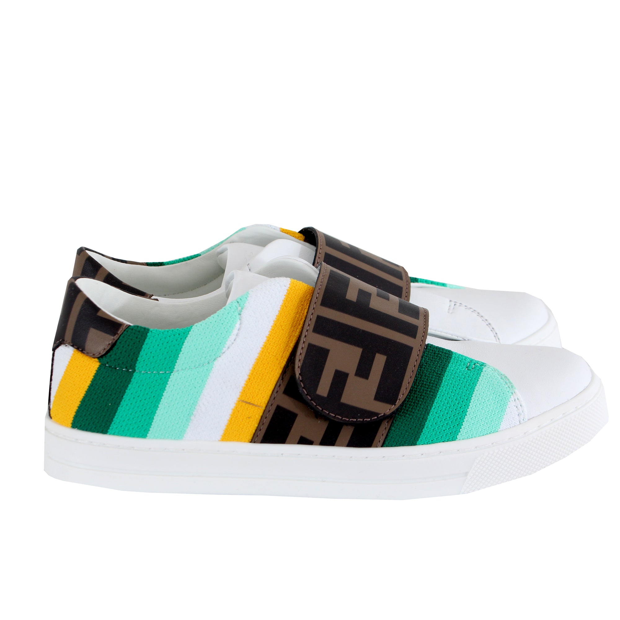 Striped Sneakers With Logo Velcro - White