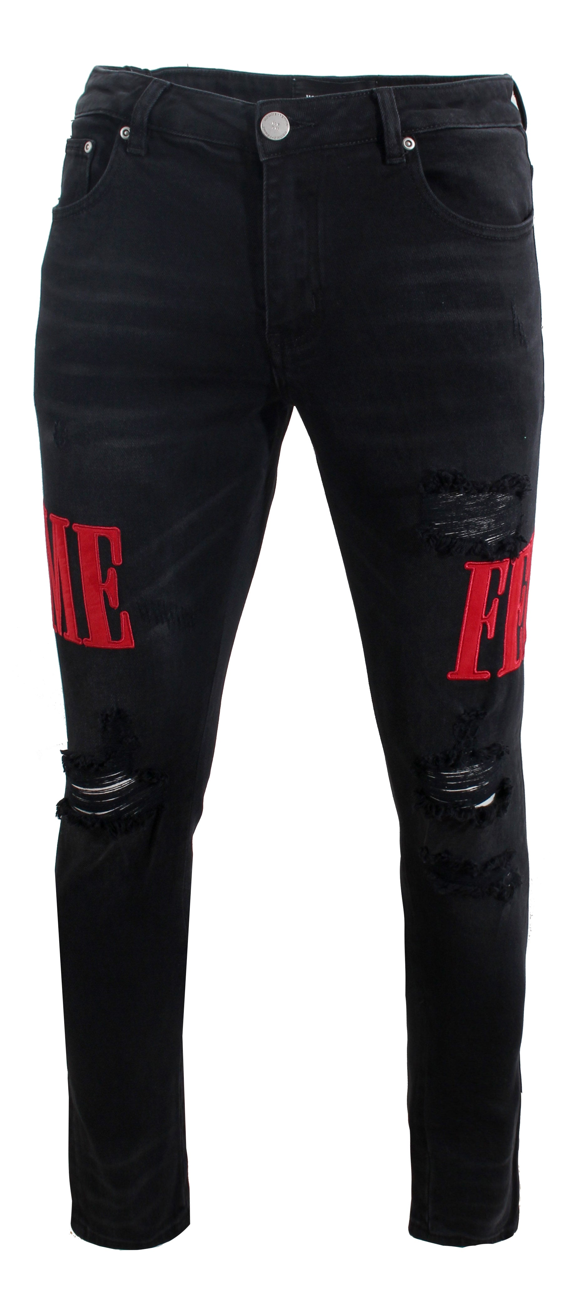 Letterman Denim - Black With Red