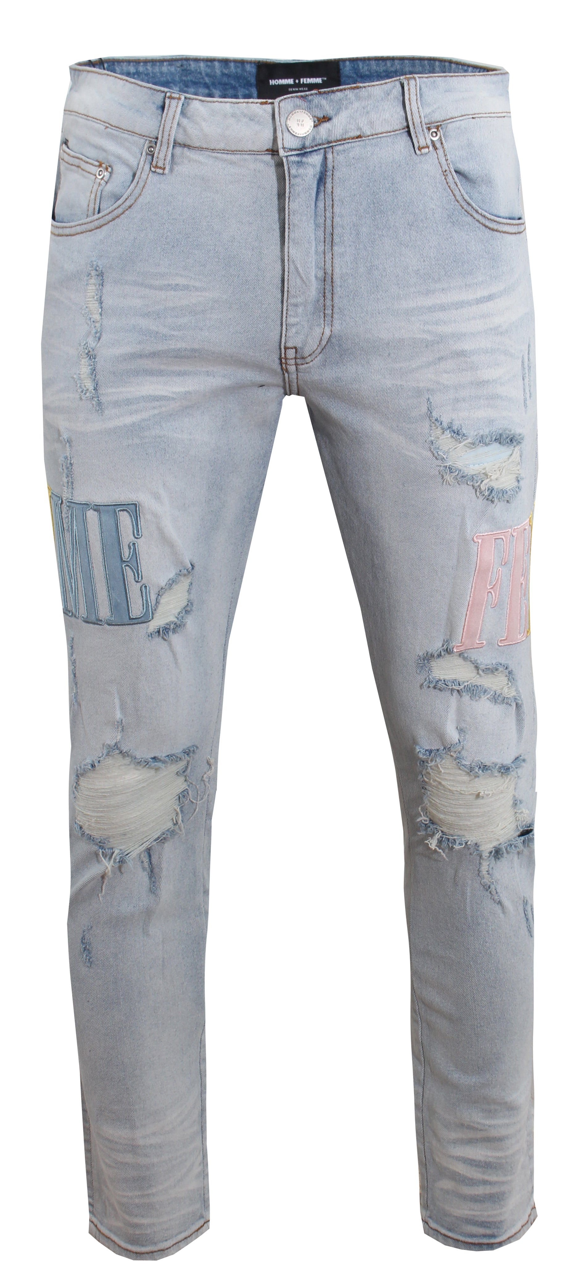 Letterman Denim - Blue With Pink & Yellow