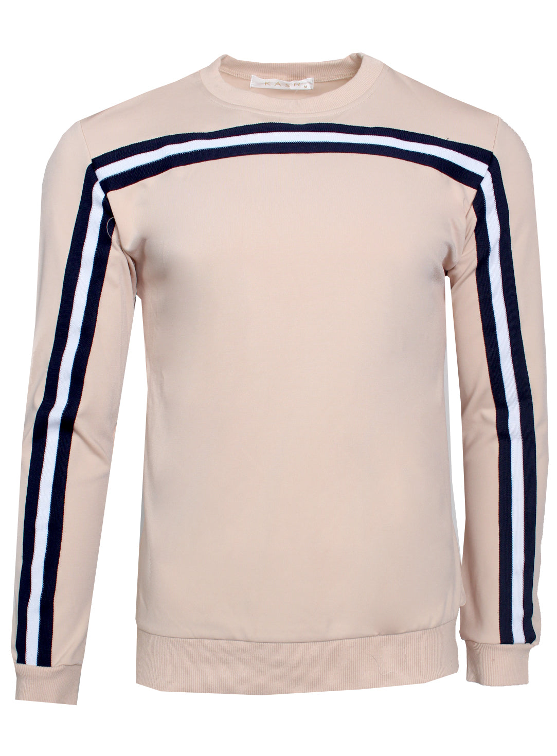 Men's Long Sleeve Crewneck with Black and White Stripes-Tan