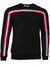 Men's Long Sleeve Crewneck with Red and White Stripes-Black