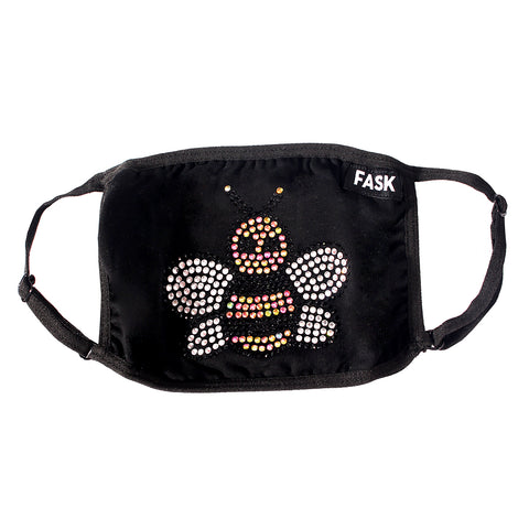 FASK Black Bee Cotton 2.0 Stoned Mask with Interchangeable Filter and Adjustable Size Strap