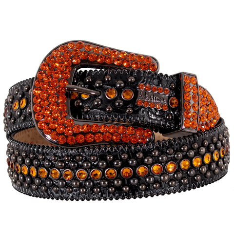 Black Leather Belt with 1 Row Orange Crystals