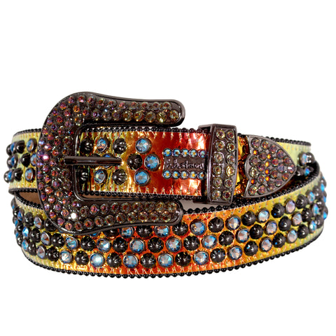 Multi Color Iradecent Foil Belt with Pewter Parachutes