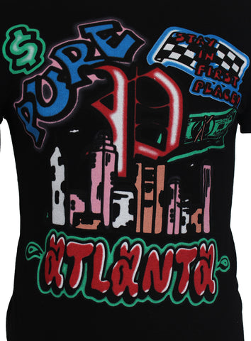 Atlanta Airbrush Graffiti Tee | Black