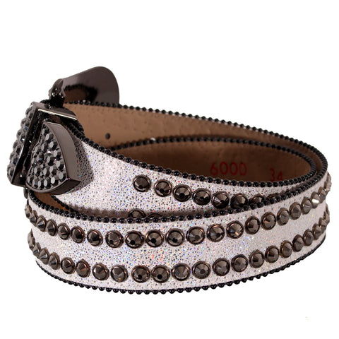 White/Iridescent Speckled Belt with 2 Row Pewter Crystals