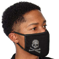 FASK Skull Cotton 2.0 Stoned Mask with Interchangeable Filter and Adjustable Size Strap-Black