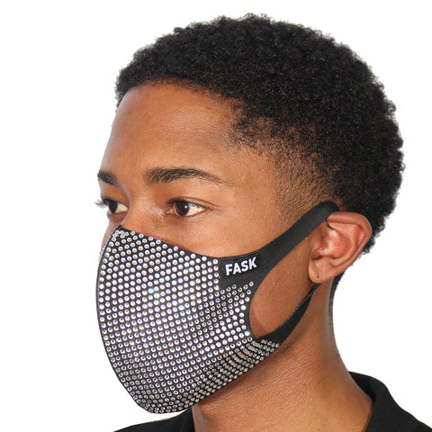 FASK Full Armour 2.0 Silk Stretch Stoned Mask with Interchangeable Filter-Black
