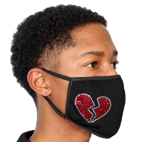FASK Broken Heart Cotton 2.0 Stoned Mask with Interchangeable Filter and Adjustable Size Strap
