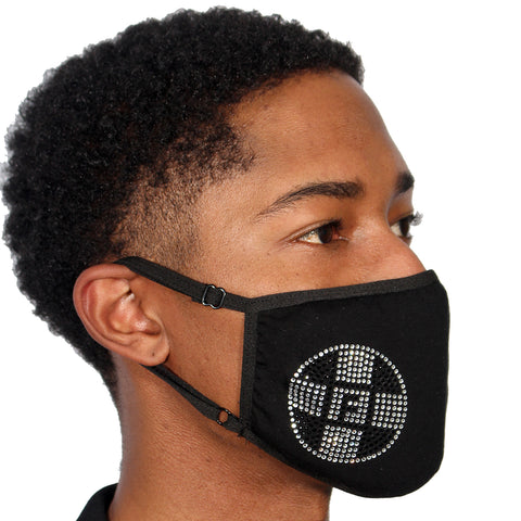 FASK Logo Cotton 2.0 Stoned Mask with Interchangeable Filter and Adjustable Size Strap-Black