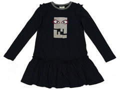Fendi Girls Eyes Grey Logo Dress
