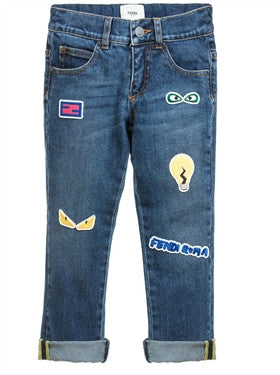Fendi Boys Patchwork Blue Denim