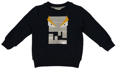 Fendi Boys Monster Logo Long Sleeve Navy Sweater
