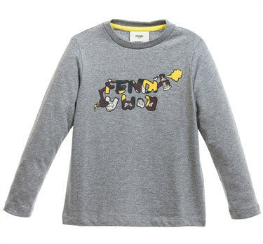 Fendi Boys Camo Logo Grey Tee