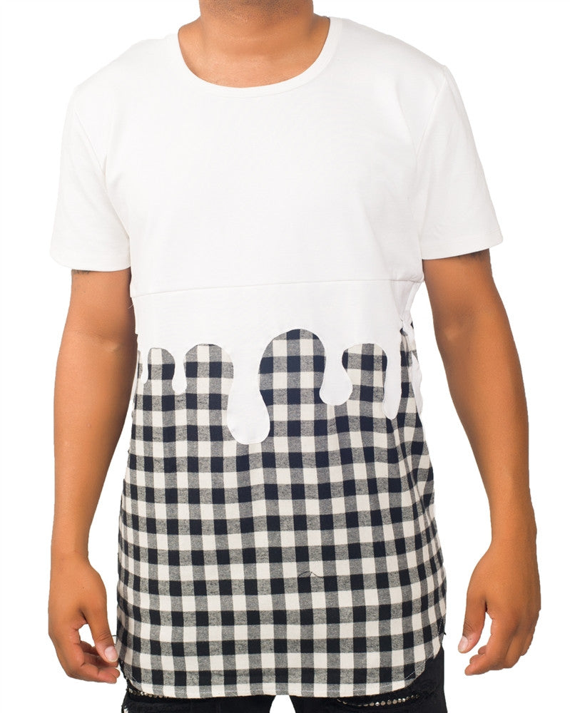 Drip Plaid White Tunic