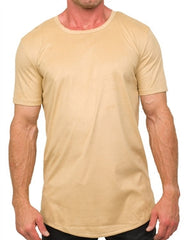 Kash Elongated Stretch Suede Tunics Tee (Creme)