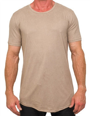 Kash Elongated Stretch Suede Tunics Tee (Taupe)