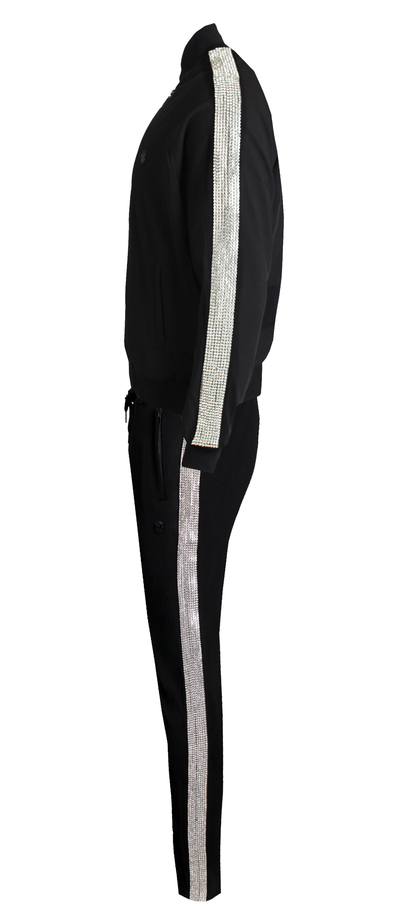 Men's Shine Collection Pants with Side Diamonds-Black