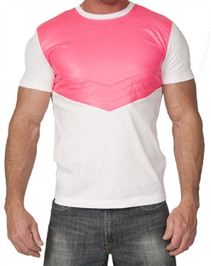 Kite Chevron Tee White/Neon Pink