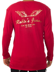 Long Sleeve Wing Bar Gold Red Tee