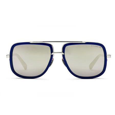 DITA MACH ONE BLUE FRAME SILVER HARDWARE GOLD FLASH LENS
