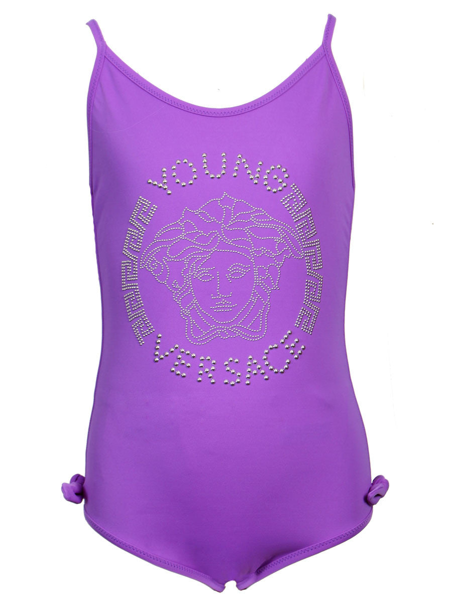 Girls Embellished Medusa Swimsuit-Purple