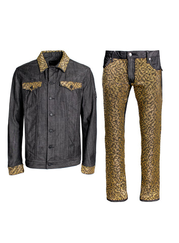 Custom Hand Crafted Gold Studded Black Denim Jean Jacket Full Set