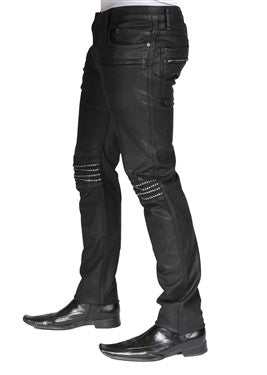 Men's Robin's Jeans - Black wax finish with Knee-cap Diamonds