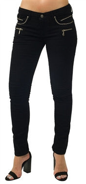 Robin's Jeans Women Biker Single Line in Black (Clear Swarovski)