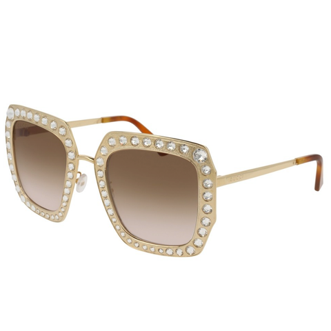 GUCCI Oversize square-frame metal sunglasses