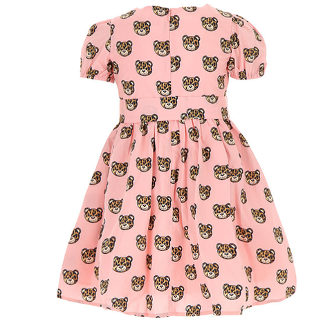 Girls Short Sleeve Dress with All over Teddy Print-Pink