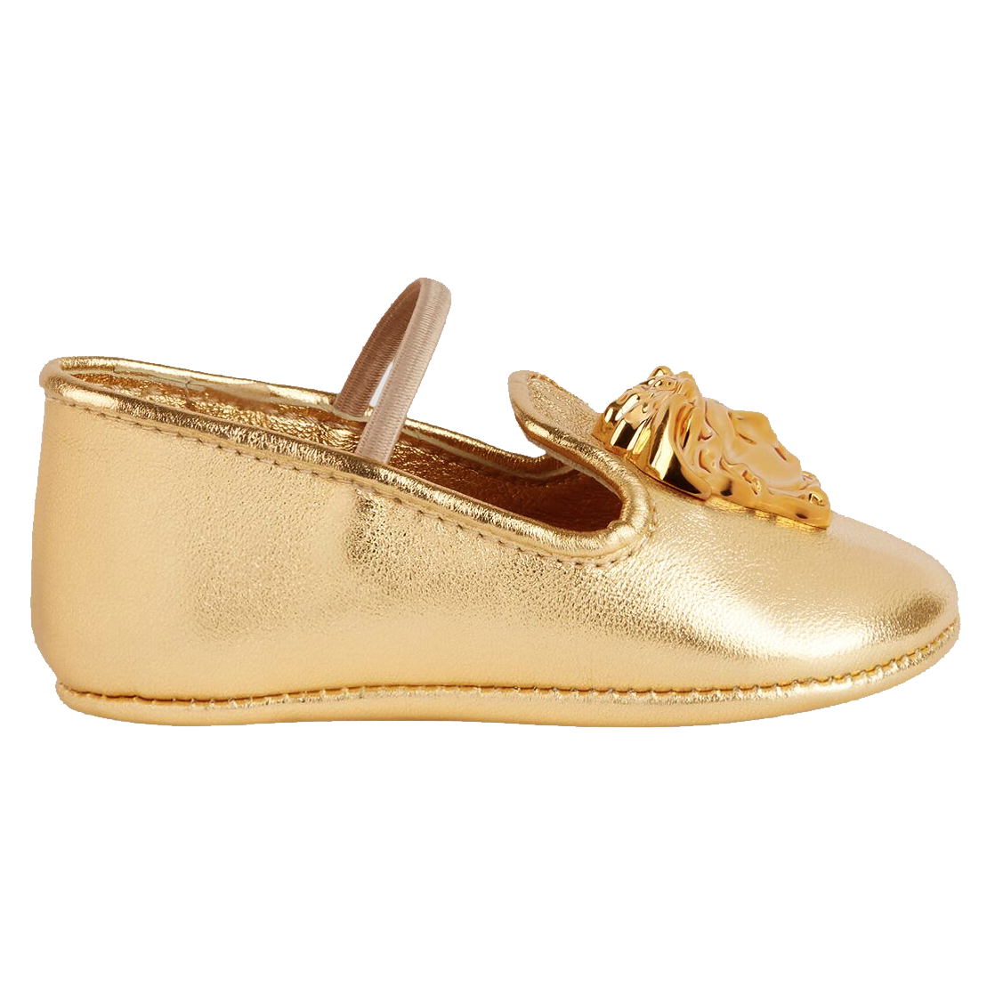Newborn Baby Crib Shoes with Medusa-Gold