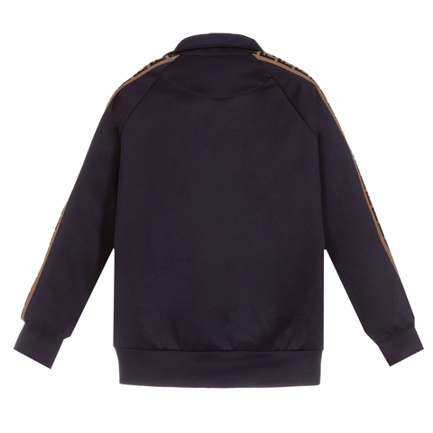 Kids Track Jacket with Logo on Sleeves-Navy