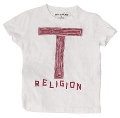 True Religion Letter Logo Boy's Tee in White