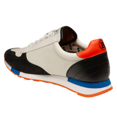 Men's Nubuck Calf Leather Trainer- Nude and Black