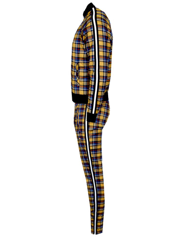 Men's Long Sleeve Plaid Track Jacket from 'Private School Collection'-Gold
