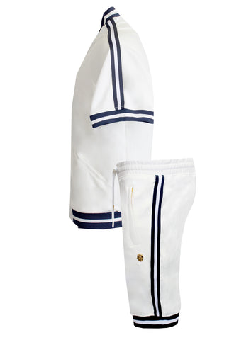 Nautical Track Shorts|White/Navy