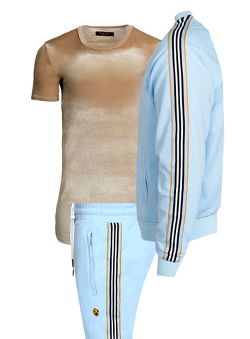 Men's Long Sleeve Ice Cream Cone Track Jacket with Side Stripes-Sky Blue