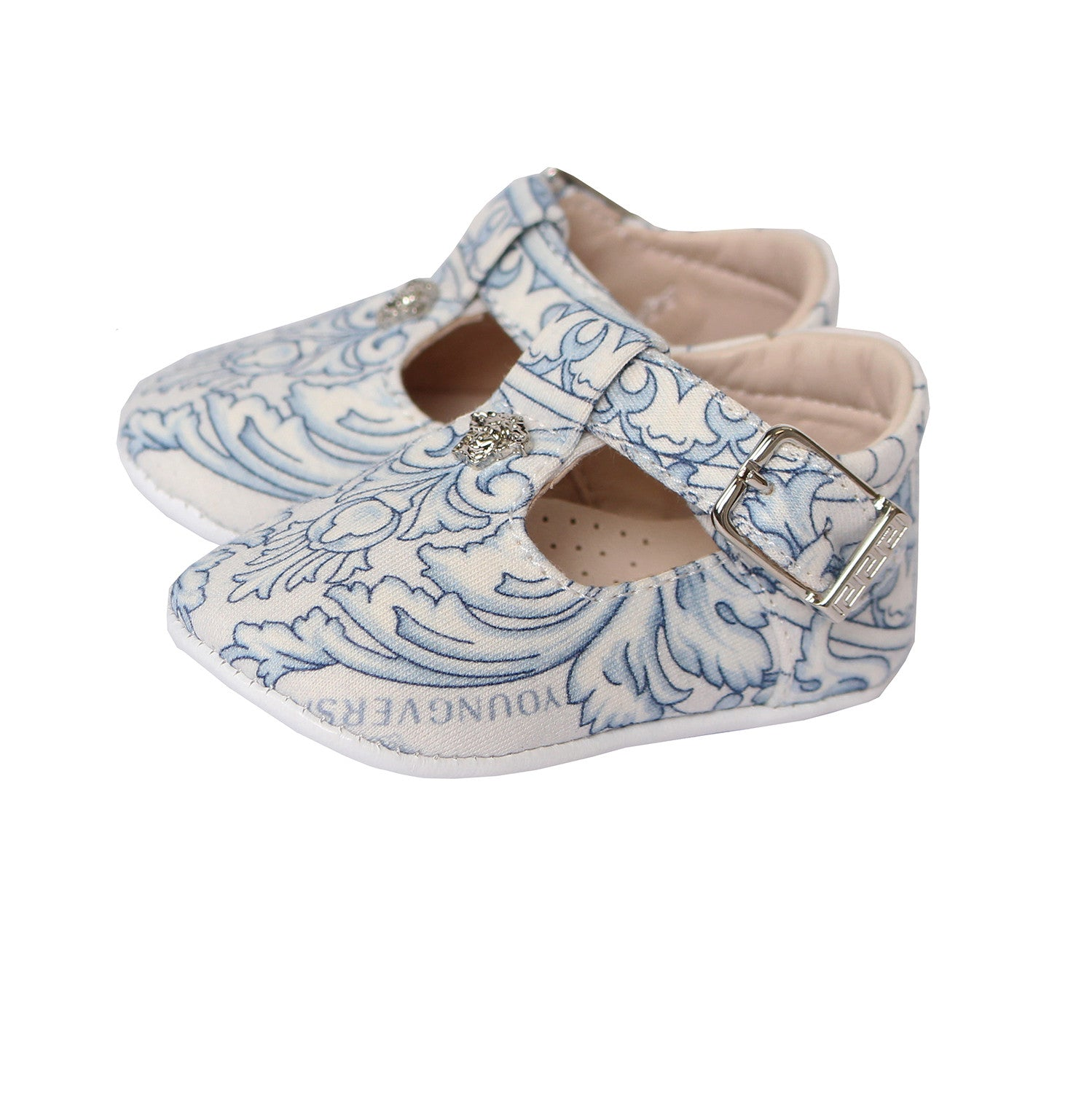 35647ea1dafd8 Young Versace Baby Crib Shoes(WHITE BLUE) – PureAtlanta.com
