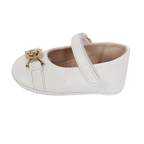 Baby Girls Crib Shoes-White and Gold