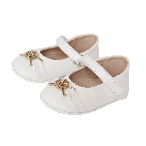 Young Versace Girls Crib Shoes(WHITE)