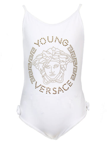 Embellished Medusa Swimsuit | White