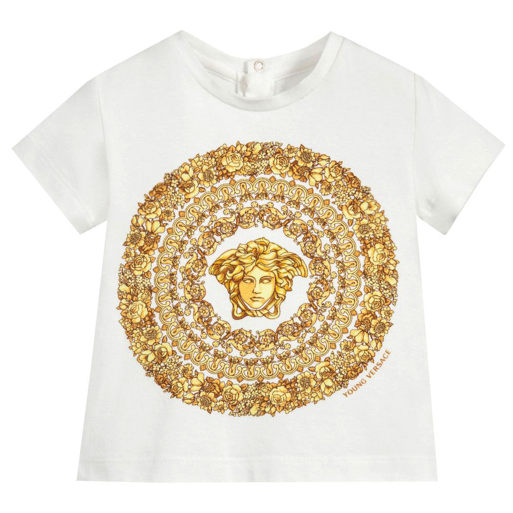 Baby Girl Short Sleeve Medusa T-Shirt-White