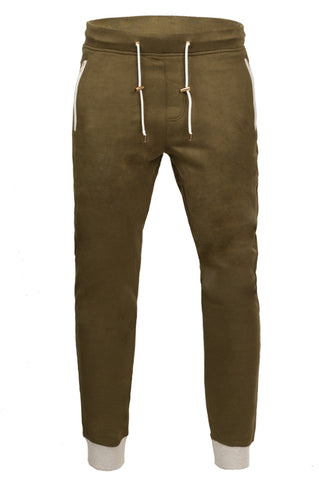Men's Suede Joggers -Olive