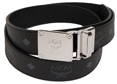 "MCM Reversible Visetos ""Large Silver Buckle"" Belt"